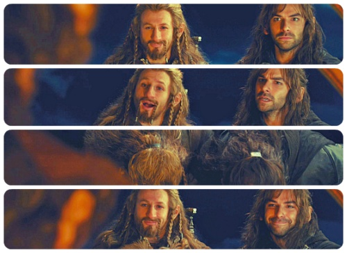 I love their faces! Kili's expressions change-   1:OMG a hobbit  2:Just.. Introduce yourself!(Don't freak out!!)  3: Bow, it's polite.  4:Just... Smile!  And then there's Fili-  1: *smirk*  2: Yes, you can have my name.  3: Cause I'm polite.  4:*smirk-eyebrow wiggle*
