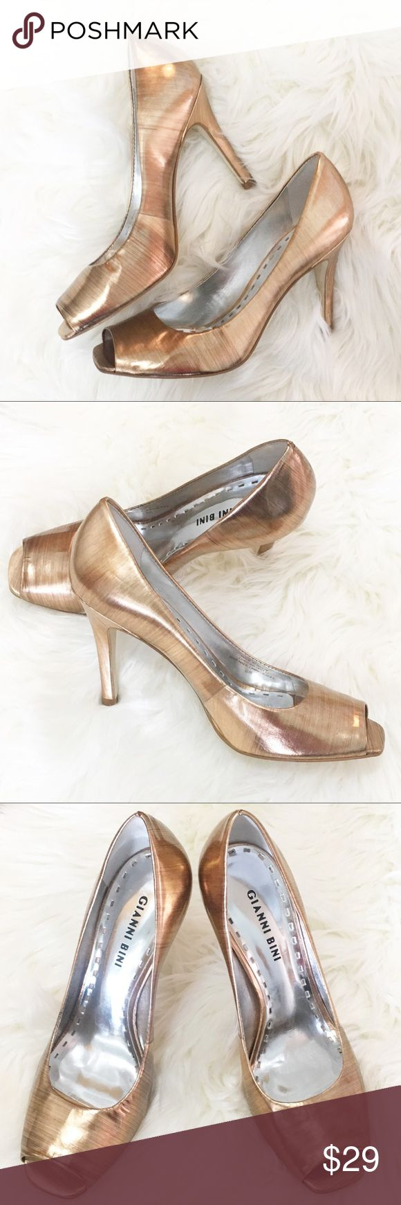 """Metallic Gold Open Toe Pumps Unique peep toe heels. Great condition with wear on soles. Shiny patent leather. 4"""" heel. Offers are welcome ☺️ Gianni Bini Shoes Heels"""