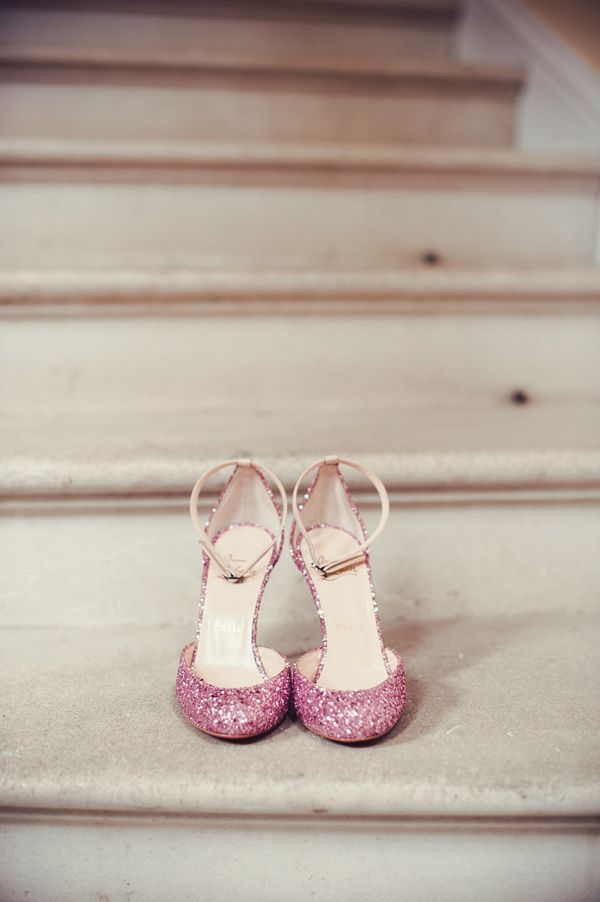 Christian Louboutin pink sparkly shoes. Photographed by Angela Ward-Brown