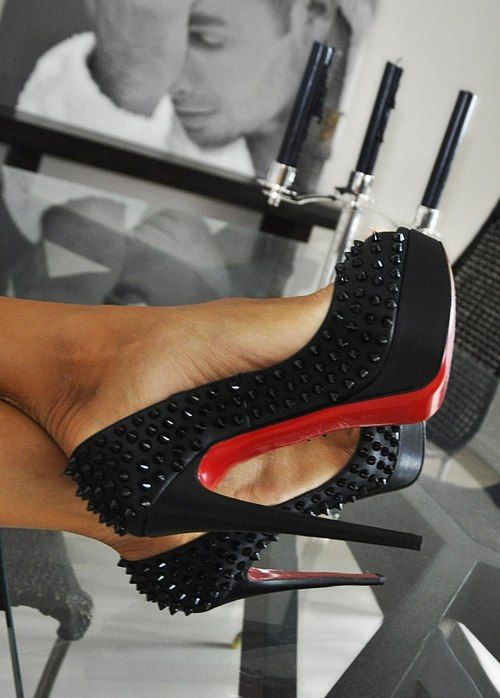 louboutin studded lady peeps in black. love studded shoes where the studs are the same colour as the shoe. #shoeporn