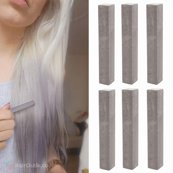 Best Ash Gray Hair Dye Set | CLOUDY - 6 Dark Grey Hair Chalks | DIY Dim Grey HairChalk Kit