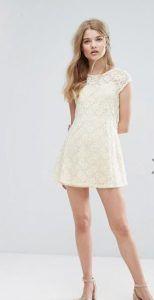 lefko forema ginaikeio dantela white min dress