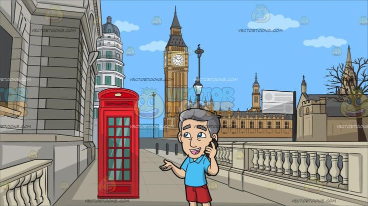 A Mature Man Talking To Someone Using His Smart Phone At A Road Leading To The Big Ben Tower :  A man with gray hair wearing a light blue polo shirt red shorts brown slippers parts his lips to chat animatedly using the black smart phone in his left hand as he slightly raises his right palm during the conversation. Set in a street with a gray colored road with traditional beautiful buildings made of gray stones and bricks a red phone booth lampposts withered tree leading to the great bell of…