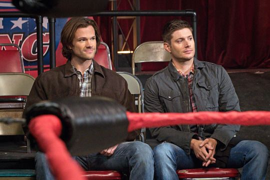 Next in Supernatural: the return of the why-the-hell-are-their-legs-touching-when-there's-enough-room-for-both-of-them interrogation. A true classic.