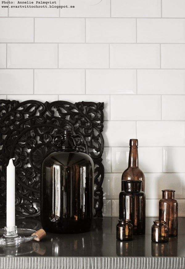 Brown glass bottles as decoration