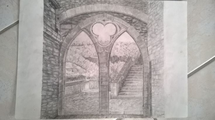 Porte à Rocamadour - crayons