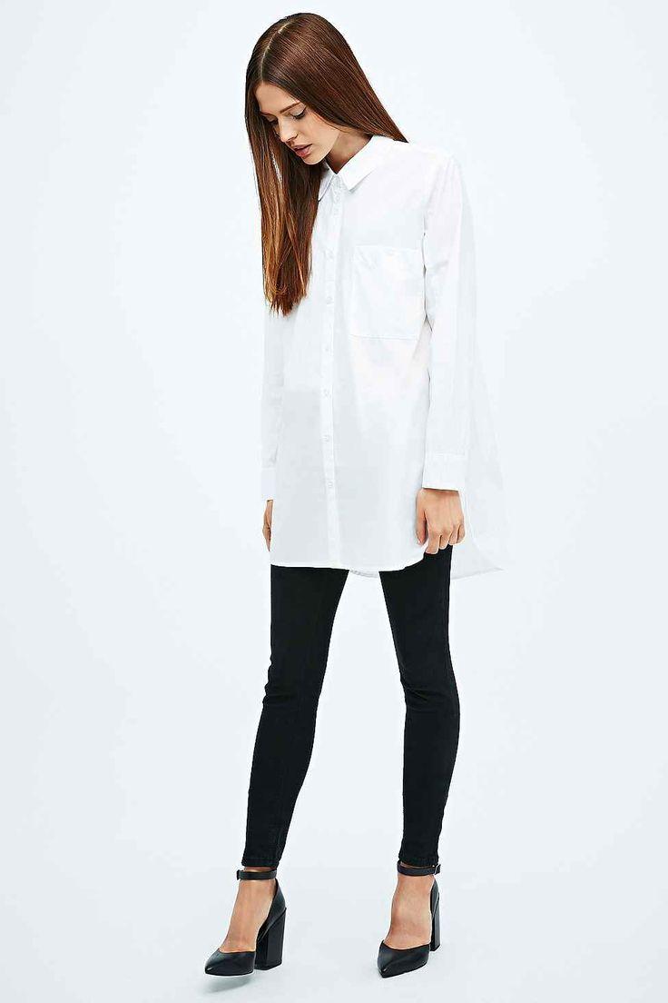 Light Before Dark Oversized Poplin Shirt in White