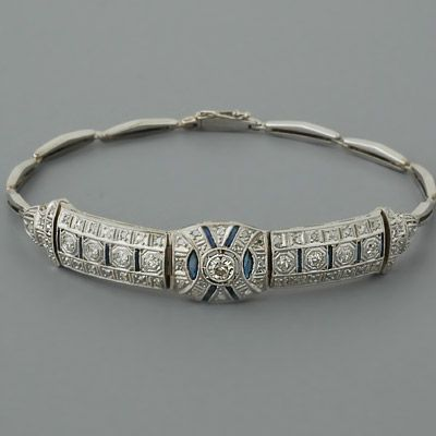 Art Deco Diamond Bracelet Antique Sapphires–Totally matches my wedding ring