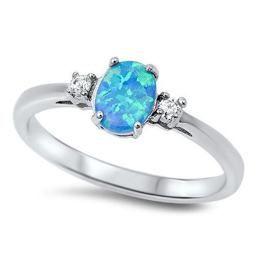 Sterling Silver Oval Cut Fire Blue Opal Ring w/ Cz Stones Sz 6-9 150361123456
