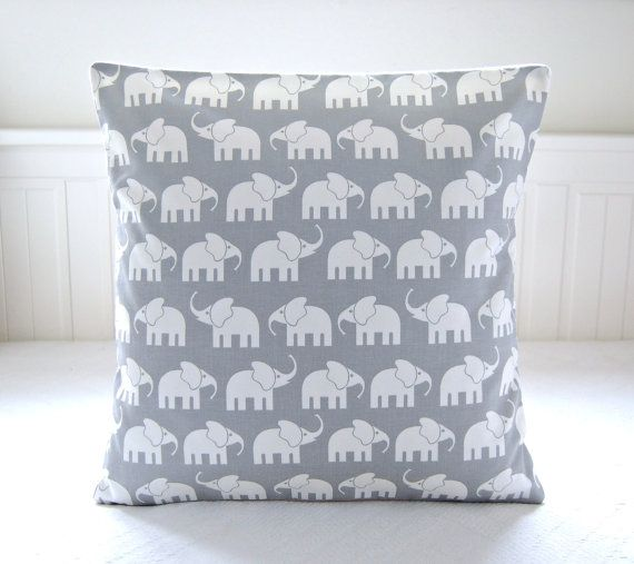 white elephants gray decorative pillow cover,  grey cushion cover 16 inch
