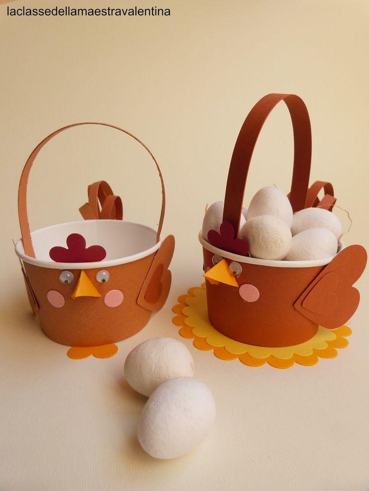 Care creative, oggi vi faccio vedere cosa hanno realizzato per Pasqua i miei bimbi... una gallinella porta ovetti.   Partendo da una co...