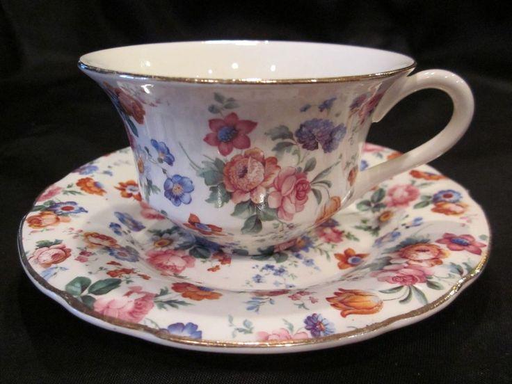 Erphila Dorset Cheery Chintz Cups & Saucers (3)