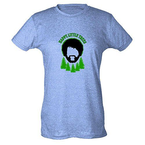 Happy Little Trees Funny Bob Ross The Joy of Painting T-Shirt in various colors and sizes