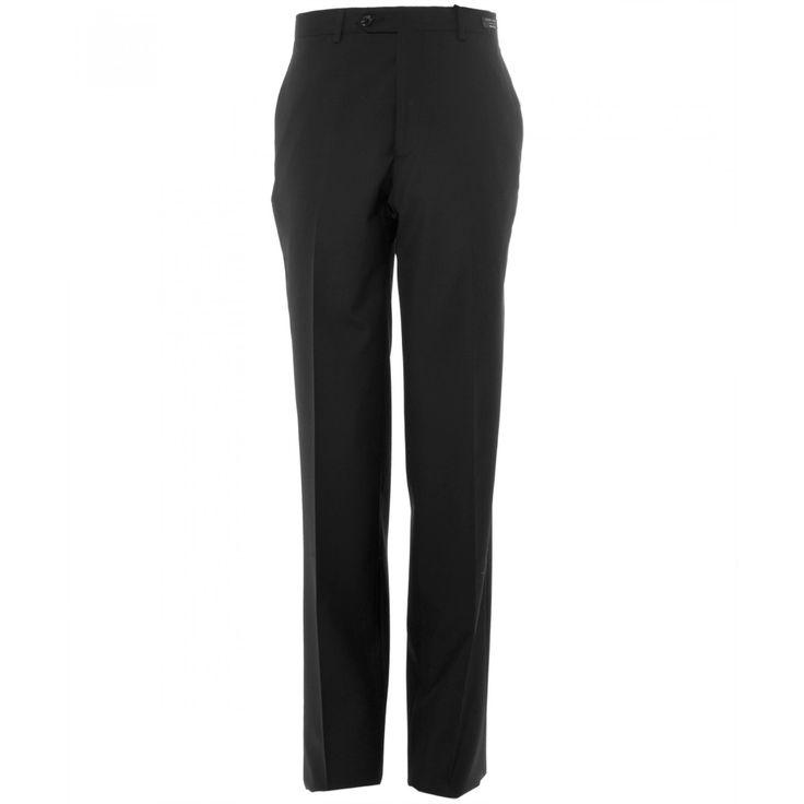 Pantalón Tommy Hilfiger de corte recto con tejido liso negro sin pinzas bragueta de cierre y cinco bolsillos.