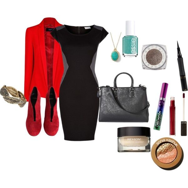 Hot for Teacher : Appropriate outfit for teachers (while still looking smoking hot)!  #teacher #teachingoutfit #schoolteacher #hotforteacher #hot #professional #blazer #pencildress #makeup #revlon #l'oreal #affordable #soniakashuk #redshoes #jewlery #wholeoutfit #officeoutfit #WorkWear #workclothes #sexy #appropriate #grownup