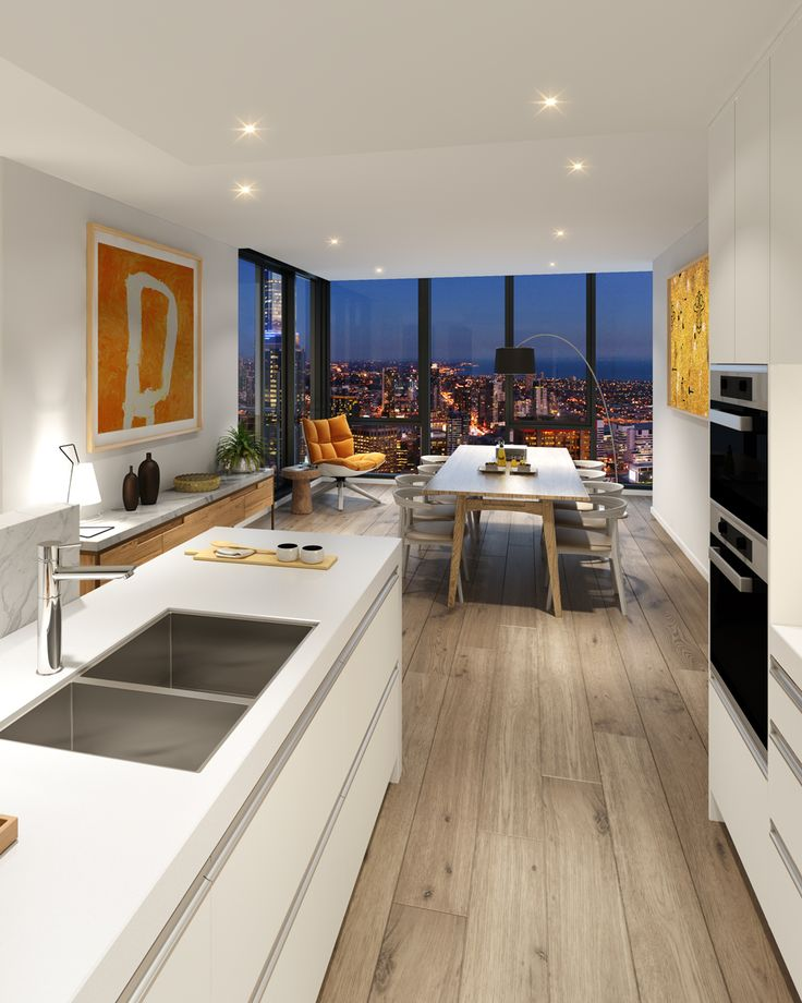 Deluxe kitchens feature composite stone bench tops, marble splash backs and upstands, german tapware and premium high gloss cupboard fronts and drawers. Miele kitchen appliances include wall oven, convection microwave, 5 burner cooktop, integrated fridge, freezer and dishwasher. #melbourneone #melbourneapartments
