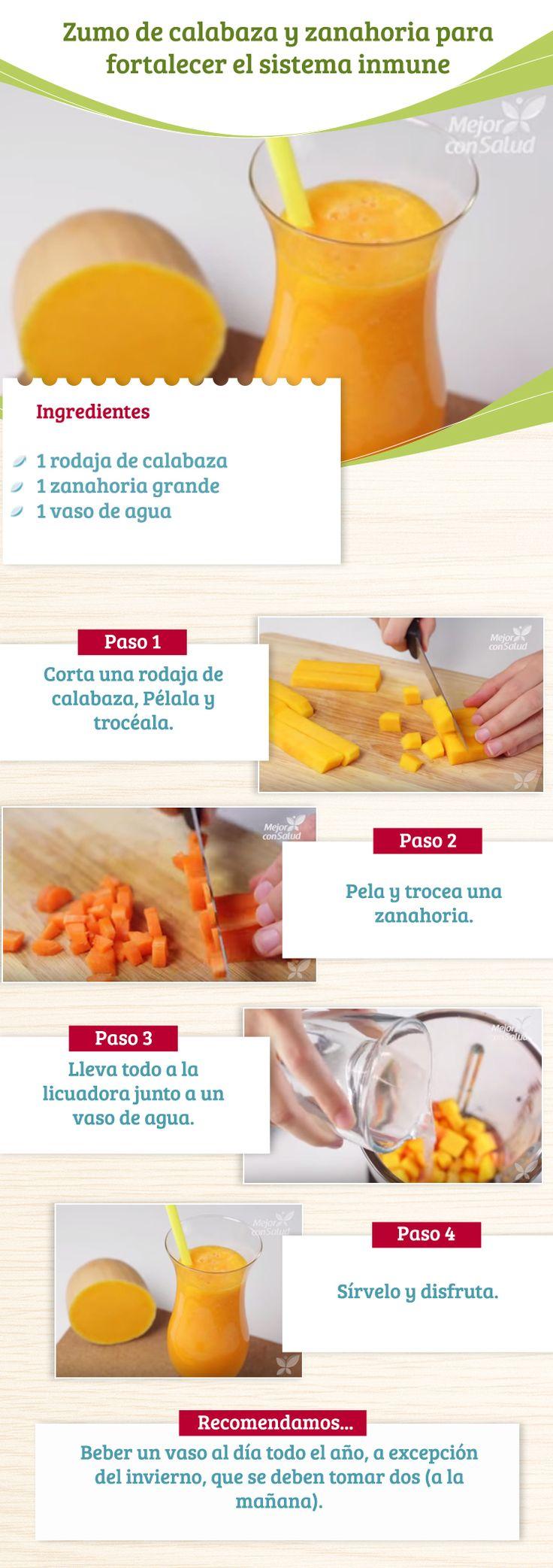 A continuación te enseñaremos a preparar un delicioso y nutritivo zumo de calabaza y zanahoria para fortalecer el sistema inmune gracias a sus excelentes nutrientes. No olvides leer: http://mejorconsalud.com/formas-de-fortalecer-el-sistema-inmunologico/