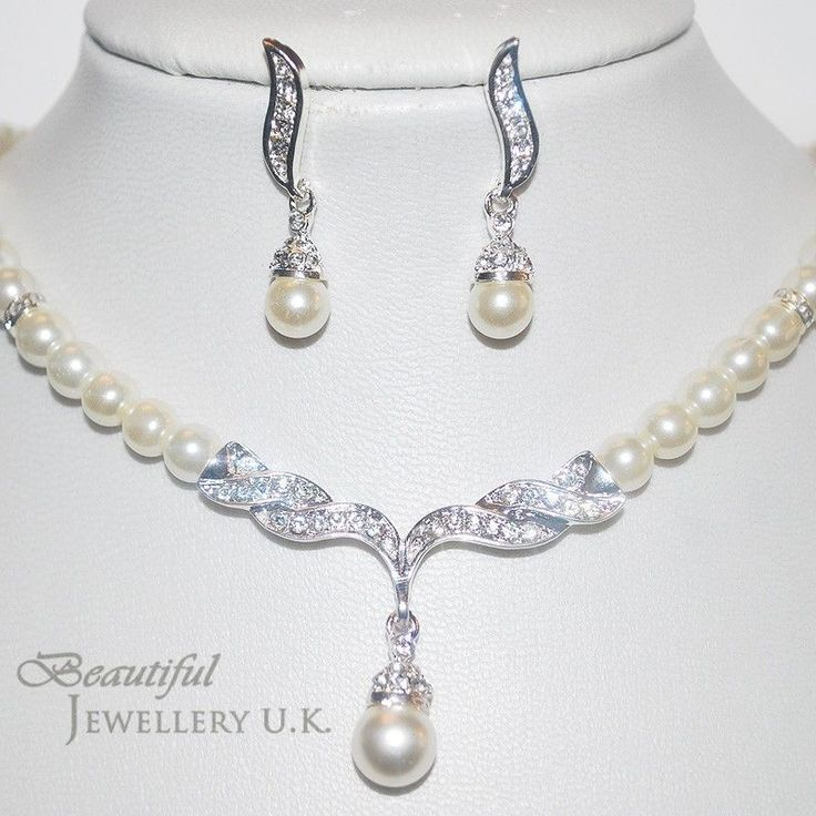 Off White Ivory Pearl Silver Bridal Jewellery Set Wedding Necklace Bridesmaids