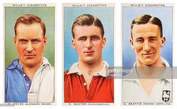 Left to right, Association footballers Robert Pryde of Blackburn Rovers FC, Robert Baxter of Middlesbrough FC and Andrew Beattie of Preston North End FC, featured on vintage cigarette cards published circa 1939.