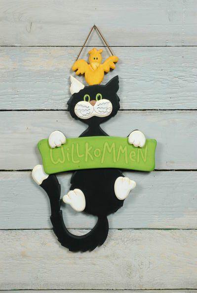 Katze Willkommen grün -