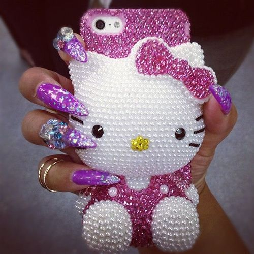 Hello Kitty Phone Case. DON'T LOVE the Nails so much, so the phone case is ADORBS!! ♡♡♡