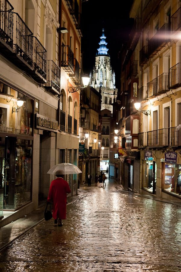 Rain in Toledo, Spain  Known for their narrow streets and beautiful church's that have a pretty cool history on how they were made.