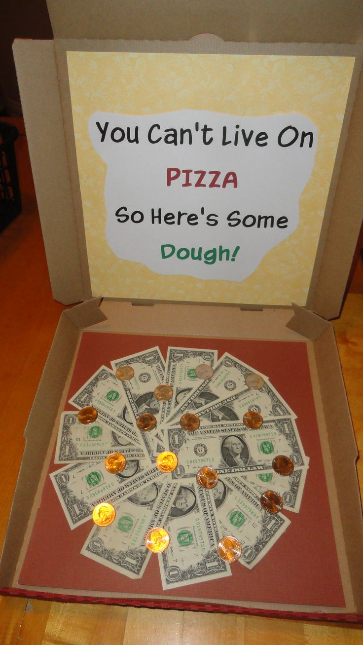 "Money Pizza - White Elephant or Gift. How cool is it to open a pizza hut box and find money! Loved this idea on Pinterest so I made it as my white elephant. Of course it was ""stolen"" until it was ""frozen"". My kids wanted this as their gift!"