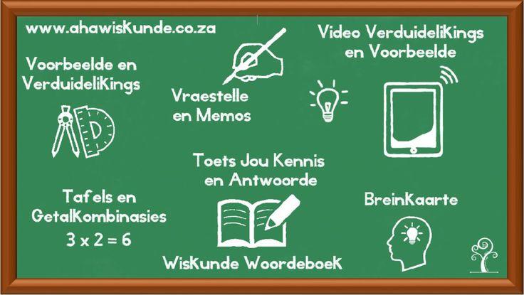 Wiskunde hulp alles op een plek.  Voorbeelde, video, toets, vraestelle, memo woordeboek breinkaarte, verduidelikings, volgens CAPS