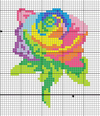 Rainbow Rose pattern - cross stitch or pixel quilt