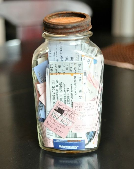 saved concert/movie,etc. tickets in a jar. Fill in the beginning of the year and then once completely full, open!