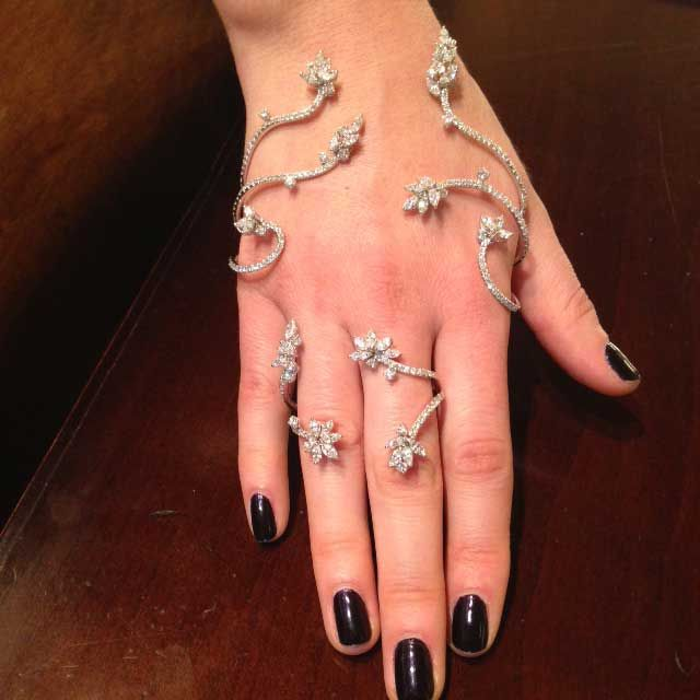 Yeprem will be showing a wide selection of unique hand jewels at the Couture Show Las Vegas. This glamorous flower design wraps around the hand and fingers like wild vines.