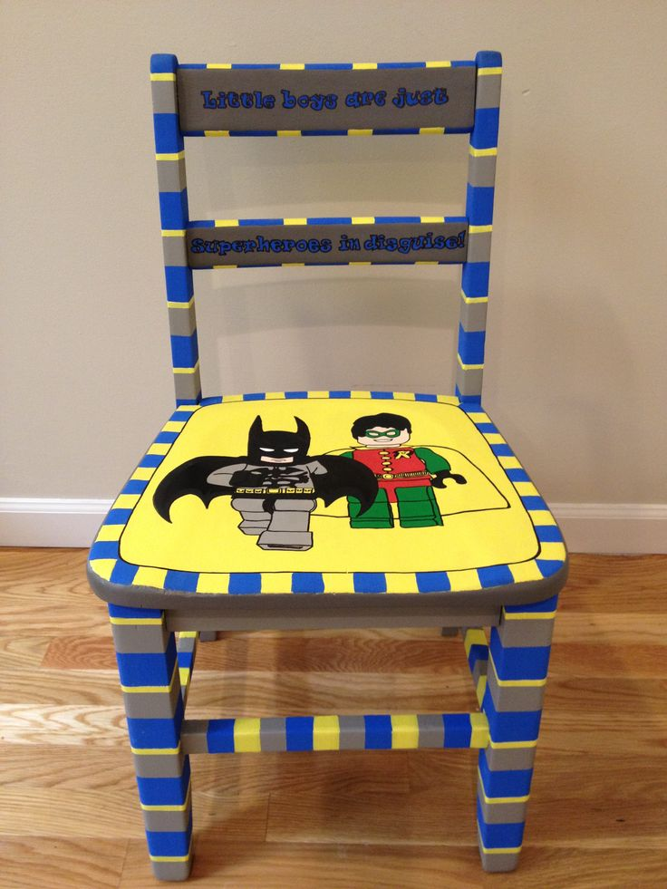 """Lego batman and robin chair, hand painted, child's chair. Chair says """" Little Boys are just superheroes in disguise"""".  Painted Chairs, Etc."""