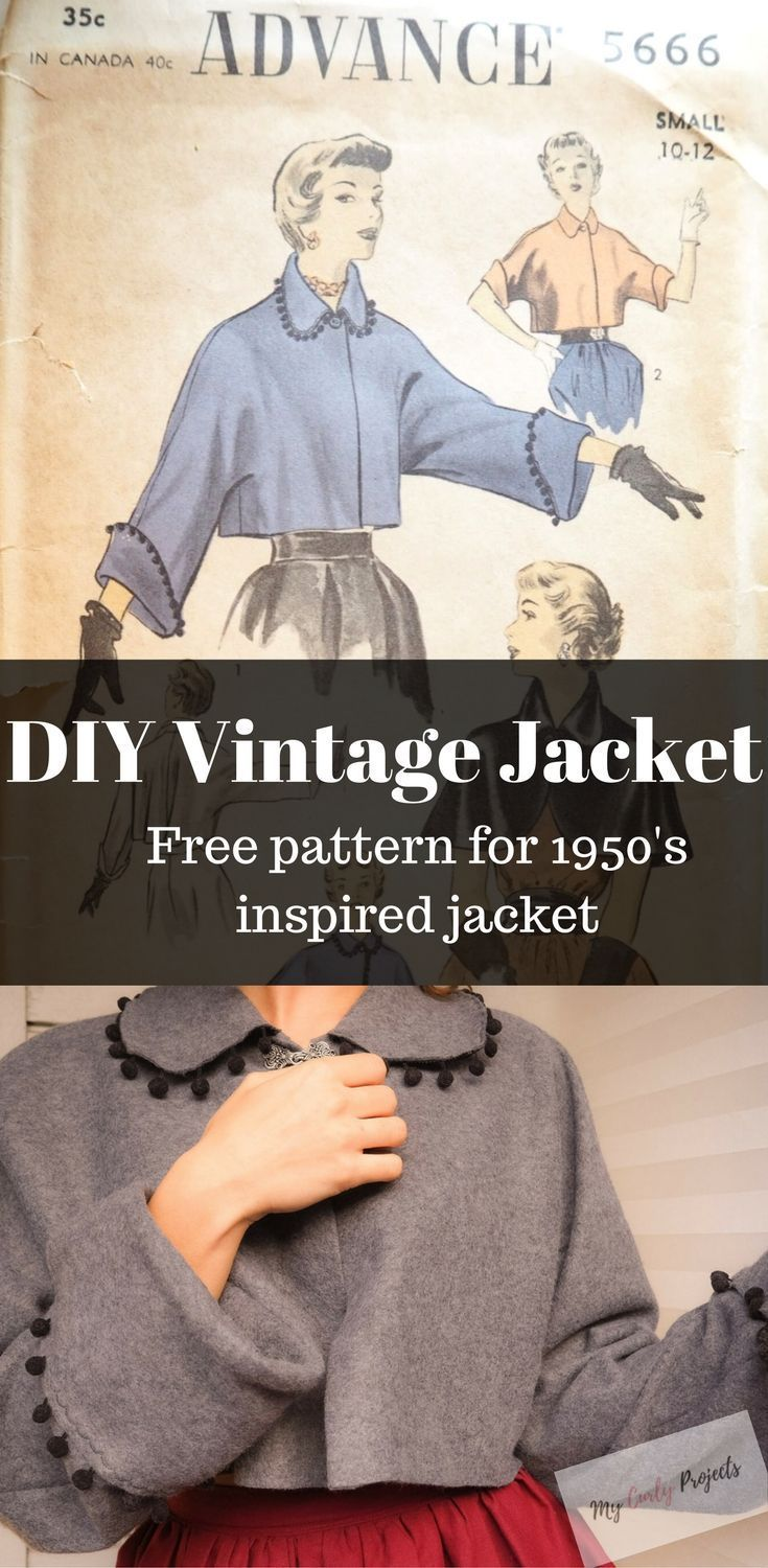 DIY Vintage Jacket. Free Sewing Pattern. Sewing tutorial. diy vintage clothes, free vintage sewing pattern, free vintage tutorial