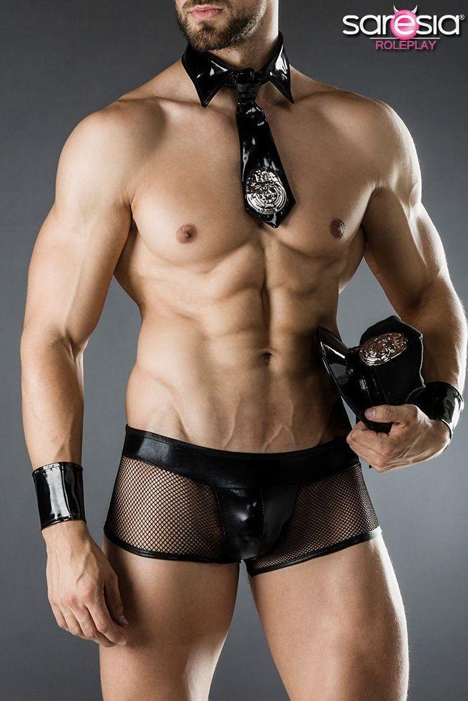 Cop Kostüm Fasching Sexy Karneval Herren Verkleidung Saresia S-L Polizei Men
