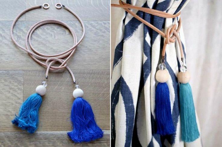 Raffhalter für Gardinen aus Lederband mit Quasten