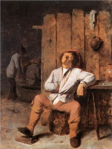 """A Boor Asleep"" - Adriaen Brouwer. Alas, this is the life Adriaen Brouwer lead himself thus ending his life too soon."