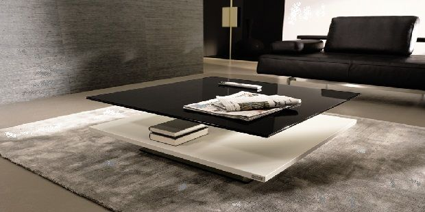 White and Black Lacquer Glass Coffee Table
