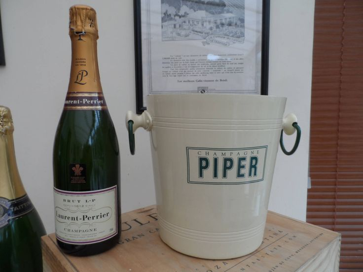 ALL Original French PIPER Champagne Bucket with Green Ring Handles  Handles Cream Paint Finish by VintageFoggy on Etsy
