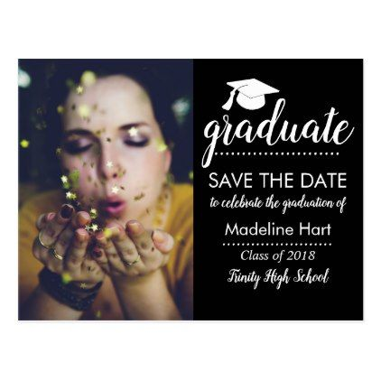 Typography Graduation Party | Save The Date Photo Postcard - graduation postcards cyo card giftideas gifts