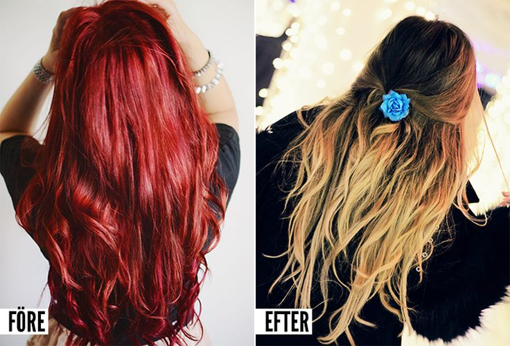 Rött hår till ljusbrun ombre