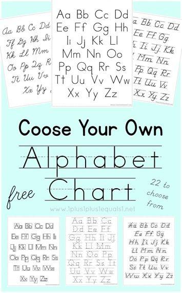 Choose Your Own Alphabet Chart ~ Manuscript, Cursive, DNealian {free printables}