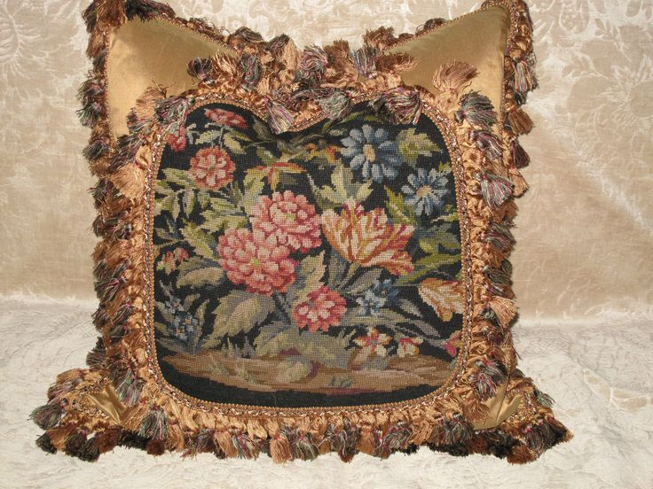 Victorian Tapestry Pillows : Lovely antique floral victorian needlepoint tapestry pillow Floral, Tapestries and Antiques