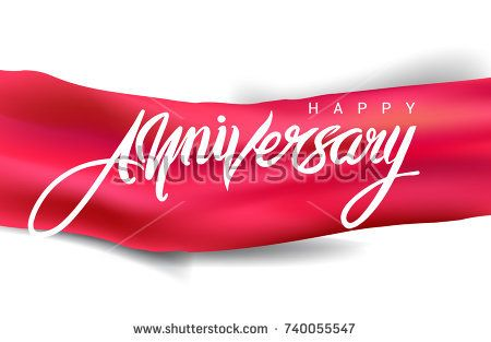 Calligraphy Happy Anniversary hand lettering text design with red ribbon. Handmade calligraphy vector illustration
