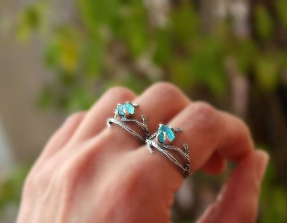 Apatite gemstone ringbranch ringsterling by aifosjewels on Etsy