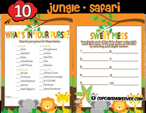 Orange Jungle Baby Shower Games Package U2013 INSTANT DOWNLOAD