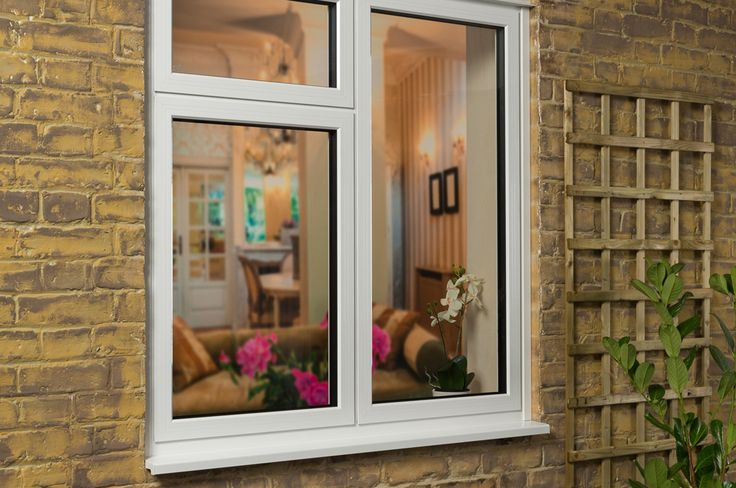 Side on view of a closed white Aluminium Casement window