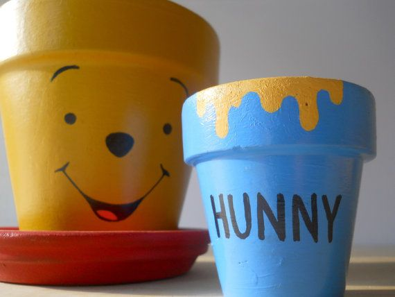 Winnie the Pooh Painted Flower Pot - teacher gift win!