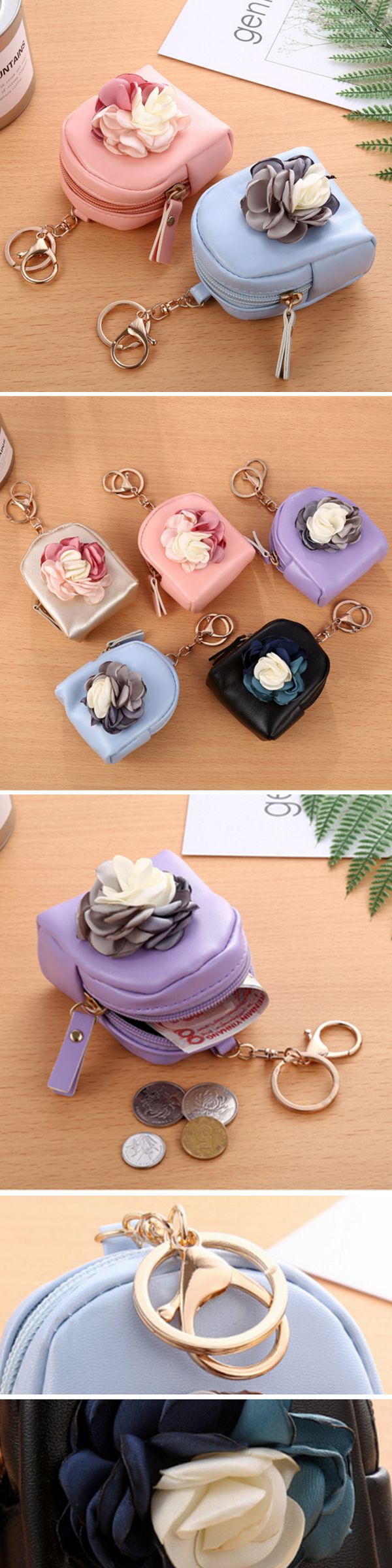 US$6.64  Cute Fashion Purse PU Leather Zipper Mini Korean Flower Bag Key Coin Bag