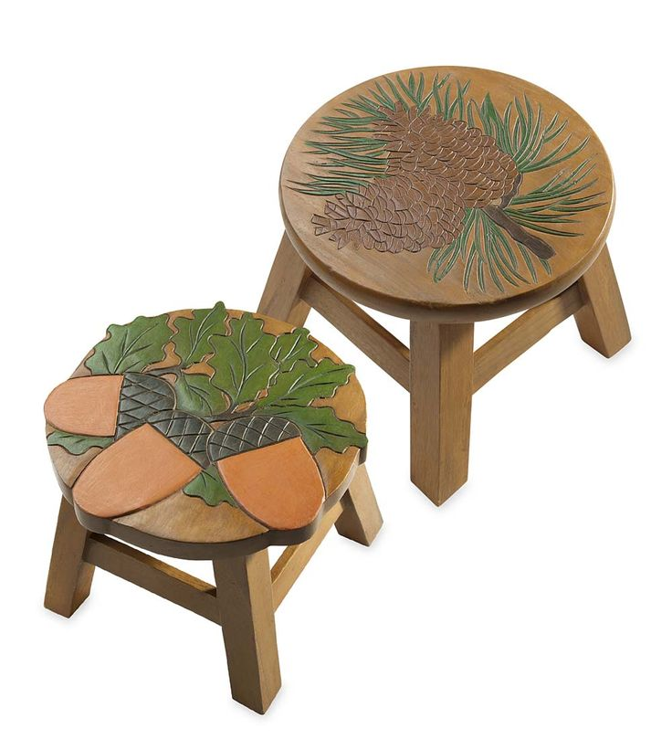Our Hand Carved Acacia Footstools With Acorn Or Pine Cone Design Are Able  To Give