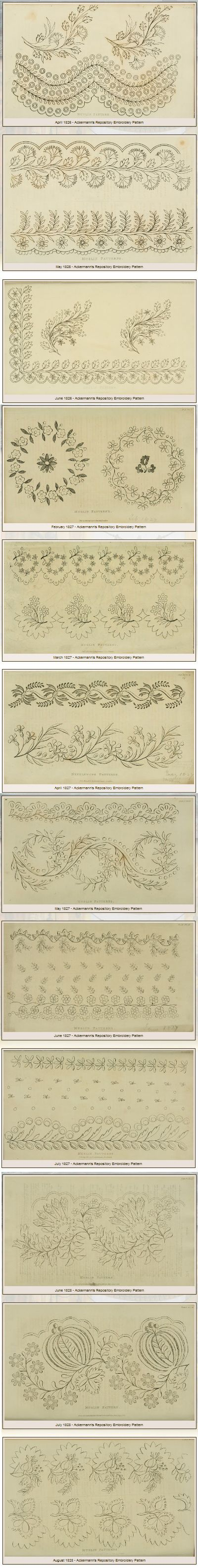 """39 beautiful free printable Needlework Patterns (from Ackermann's Repository 1826 - 1828) shared by Evelyn Kennedy Duncan. PLEASE NOTE: for full resolution printing follow the """"Download instructions"""" in her sidebar. http://www.ekduncan.com/2011/10/regency-era-needlework-patterns-from_13.html"""